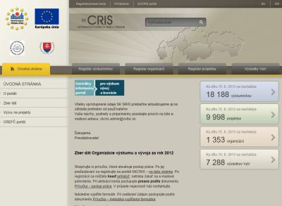Webová stránka SK CRIS