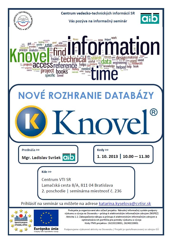 Pozvánka sa seminár k databáze Knovel