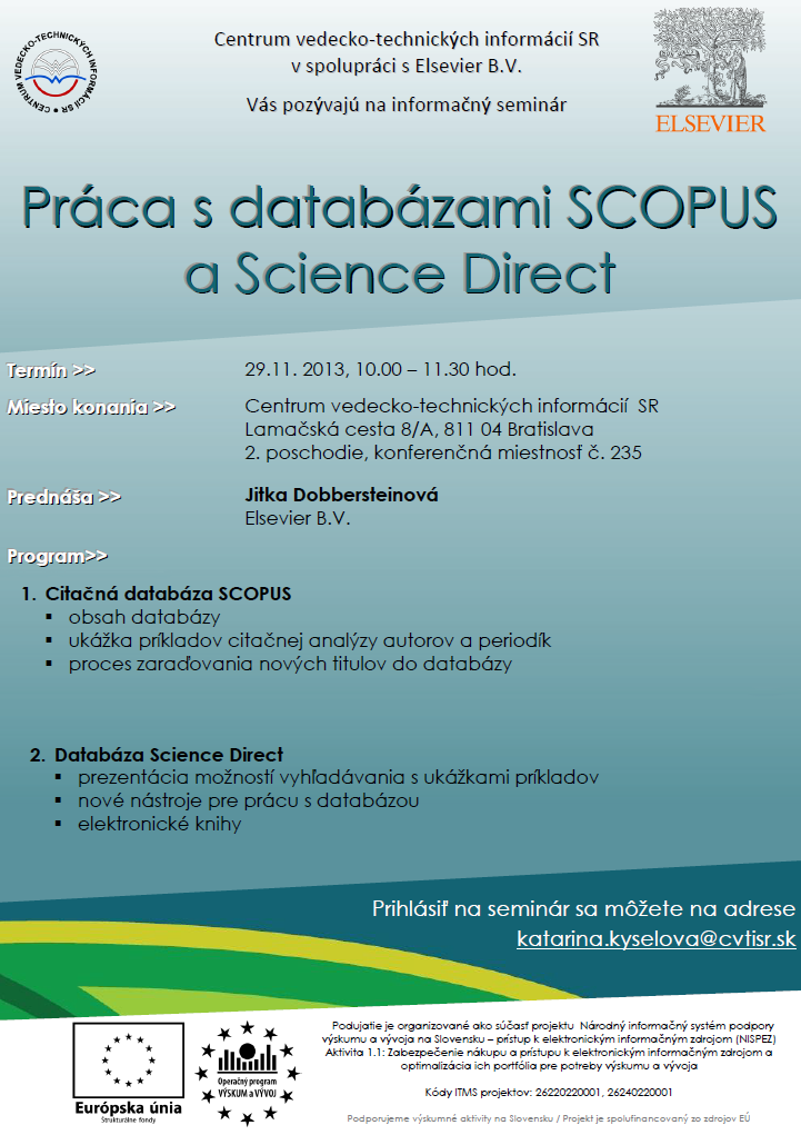 Práca s databázami SCOPUS a Science Direct