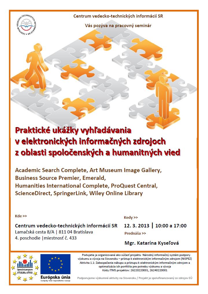 Praktické ukážky vyhľadávania v elektronických informačných zdrojoch  z oblasti spoločenských a humanitných vied