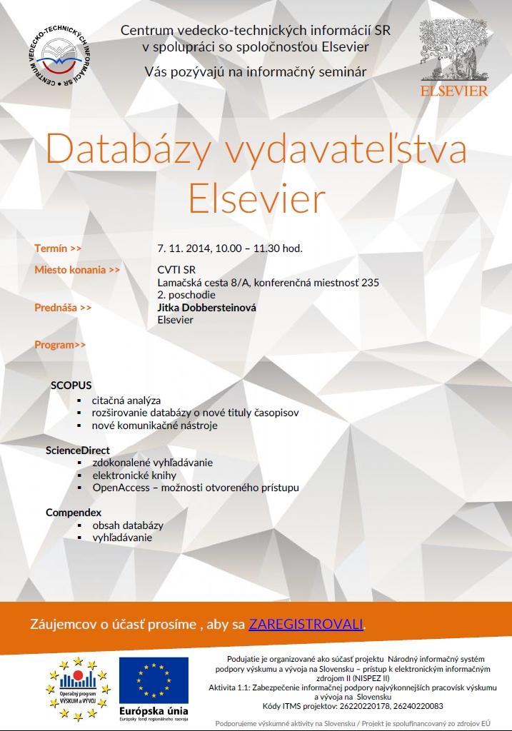 Pozvánka na seminár Databázy vydavateľstva Elsevier